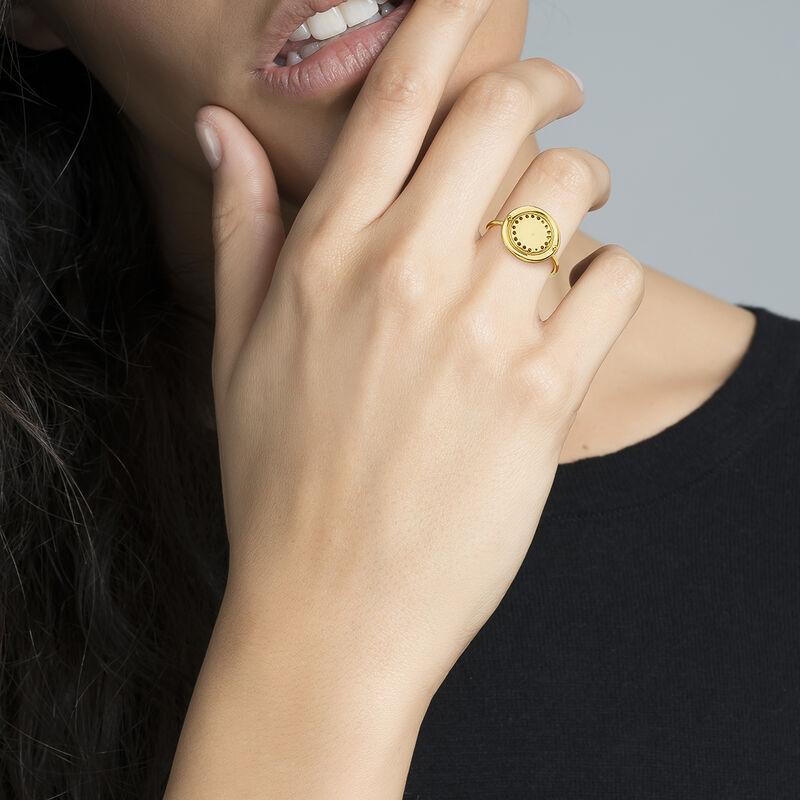 Anillo étnico círculo grande plata recubierta oro, J04449-02, hi-res