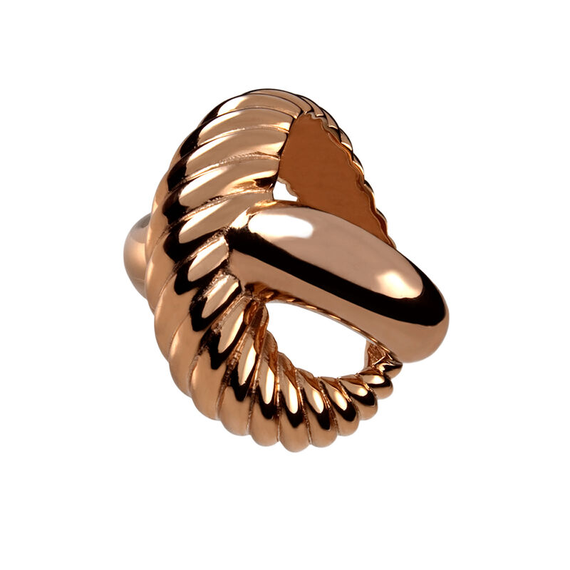 Rose gold smooth and cabled cross ring, J00224-03-NEW, hi-res