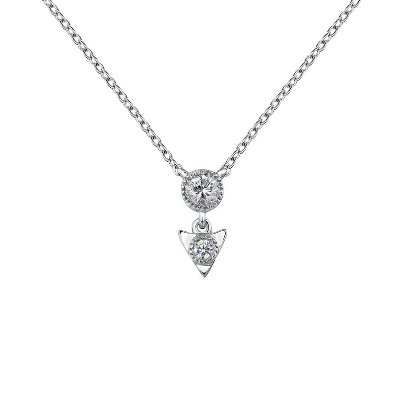 White gold triangle necklace 0.0535 ct, J03924-01, hi-res
