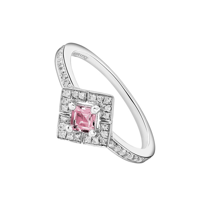 Square silver ring with pink tourmaline and diamond, J03772-01-PTU, hi-res