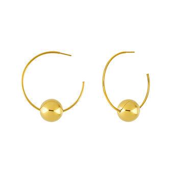 Gold hoop earrings, J03658-02, hi-res