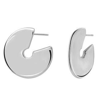 Large silver sculptural hoop earrings, J03504-01, hi-res