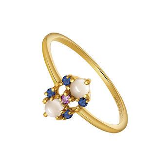 Gold flower gemstone ring, J03557-02-MSPSBS, hi-res