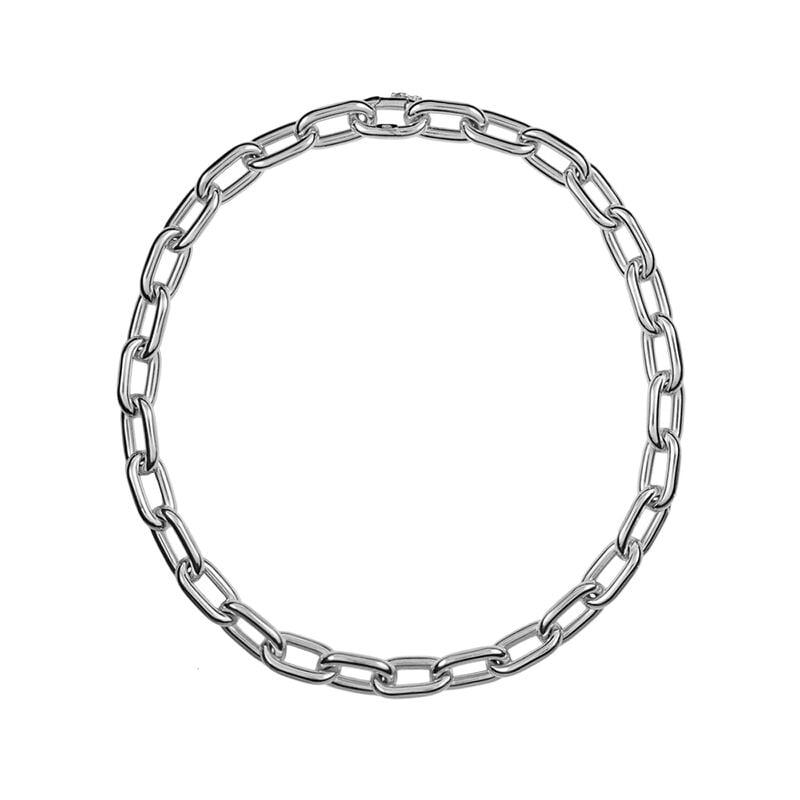 Short silver rectangular forza necklace, J00900-01-45, hi-res