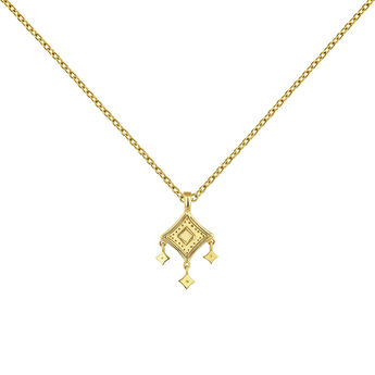 Gold plated mobile motifs ethnic necklace, J04445-02, hi-res