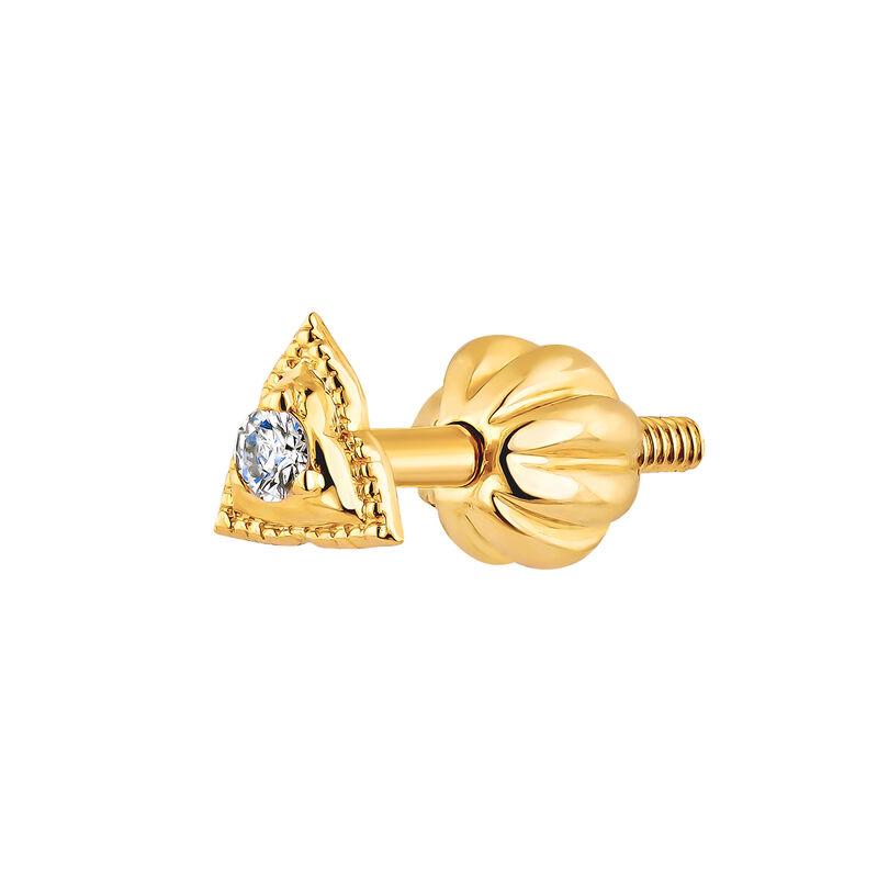 Gold triangle piercing diamond 0.012 ct., J04358-02-H, hi-res