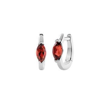 Silver garnet Creole earrings, J03273-01-GAR, hi-res