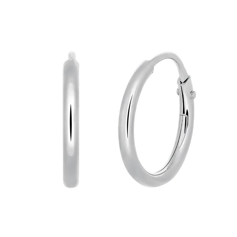 Pendientes aro mini simple plata, J03467-01-PQ, hi-res