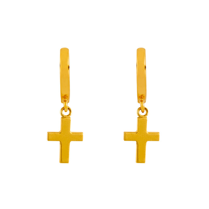 Pendientes aro cruz plata recubierta oro, J01904-02, hi-res