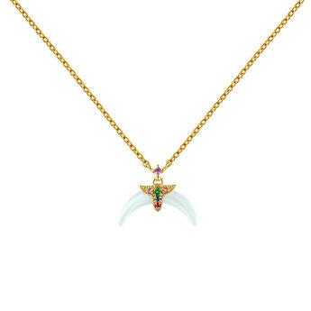 Collier en argent plaqué or jaune avec motif et aquamarine , J04316-02-AQMULTI, hi-res