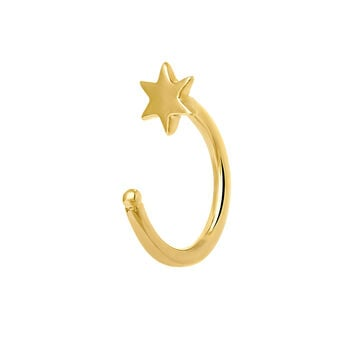 Gold star hoop earring cartilage, J03839-02-H, hi-res