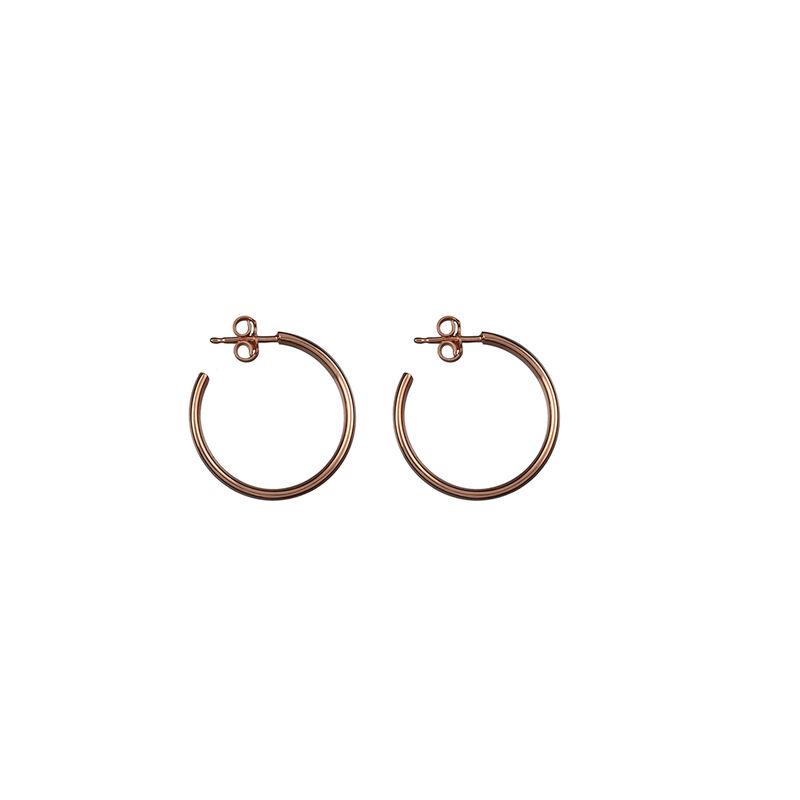 Pendientes aro liso oro rosa, J01587-03, hi-res