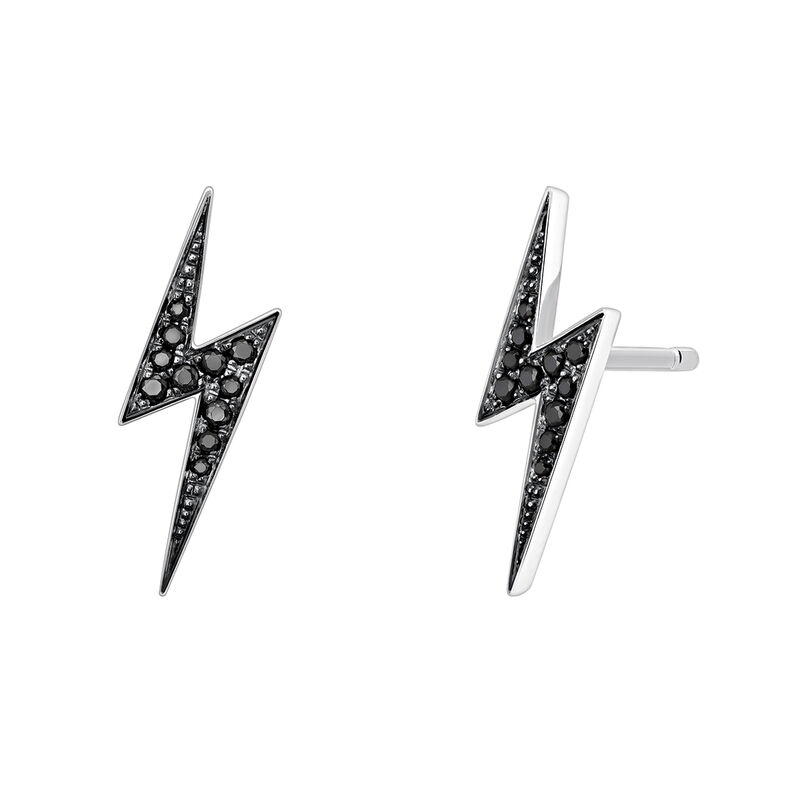 Silver spinel earrings with lightning bolt, J03629-01-BSN, hi-res