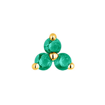 Medium gold clover emerald earring, J04348-02-EM-H, hi-res