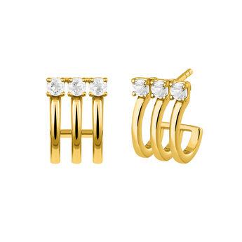 Gold triple hoop earrings with topaz, J03256-02-WT, hi-res