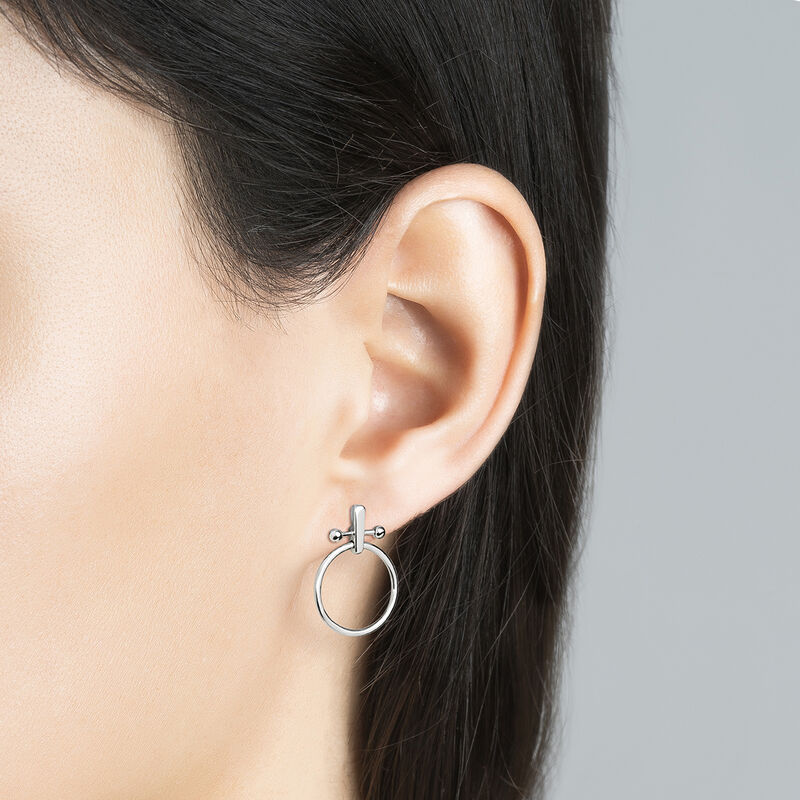 Silver piercing bar hoop earrings, J04318-01, hi-res