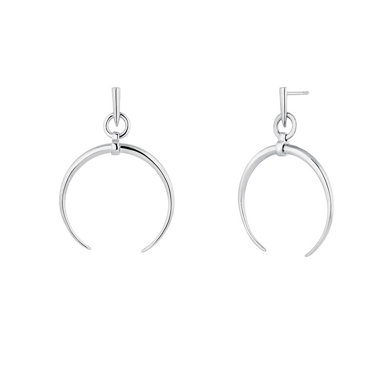Small silver half-moon hoop earrings, J04281-01, hi-res
