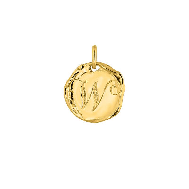 Pendentif médaille initiale W en argent plaqué or, J04641-02-W, hi-res