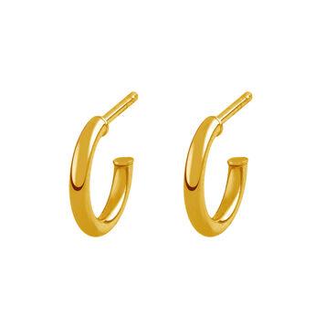 Pendientes aro mini abierto plata recubierta oro, J01755-02, hi-res