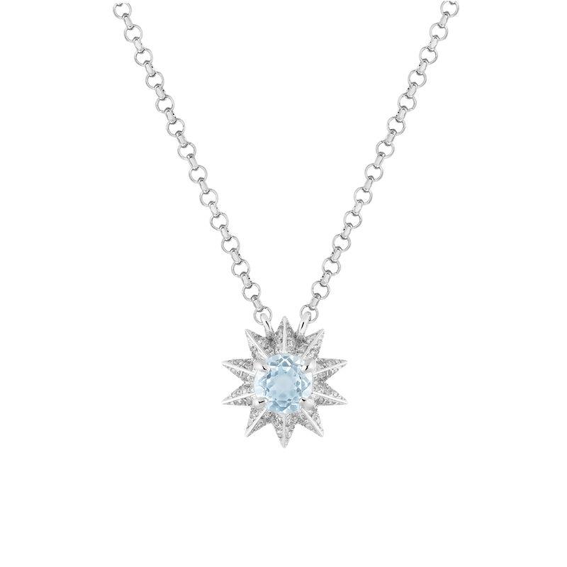 Blue topaz and diamond necklace, J03308-01-SKY-SP, hi-res