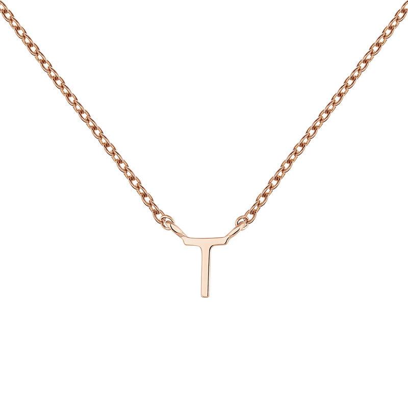 Collar inicial T oro rosa9 kt, J04382-03-T, hi-res