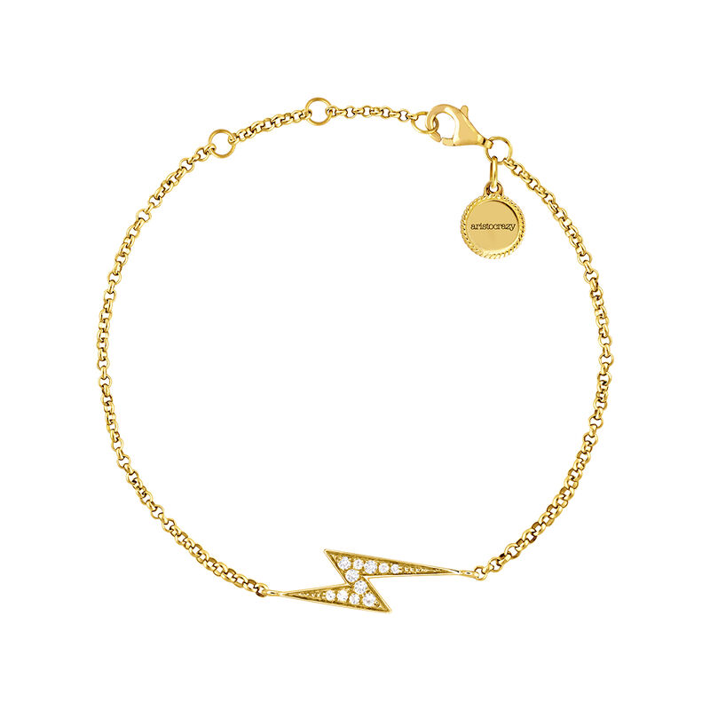 Yellow gold topaz bracelet with lightning bolt, J03640-02-WT, hi-res