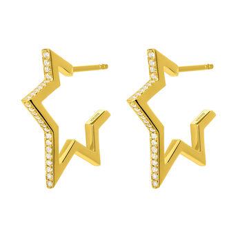 Pendientes estrella pequeña topacio plata recubierta oro, J03635-02-WT, hi-res