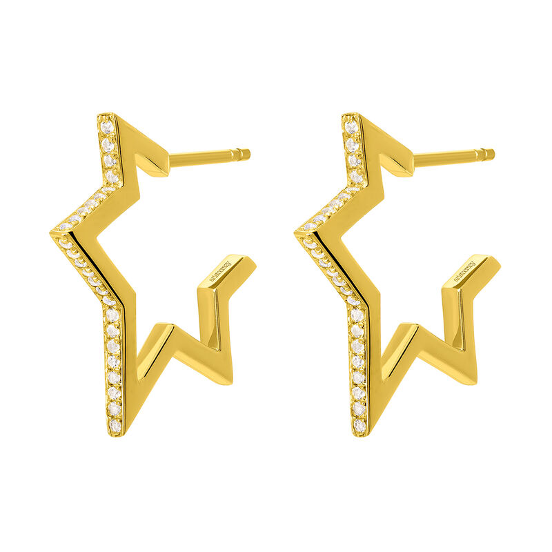 Gold plated little-star earrings with topaz, J03635-02-WT, hi-res