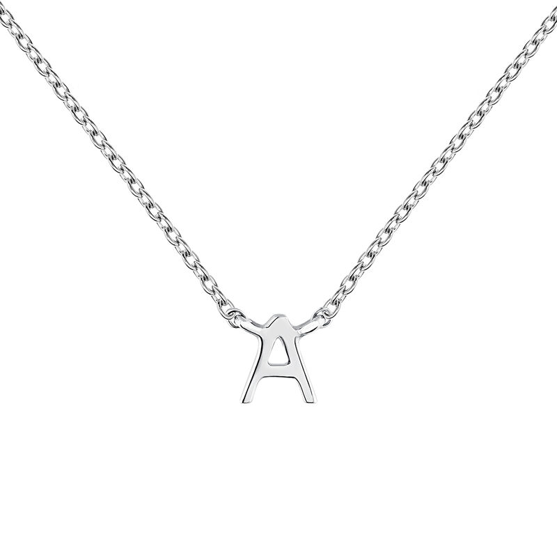White gold Initial A necklace, J04382-01-A, hi-res