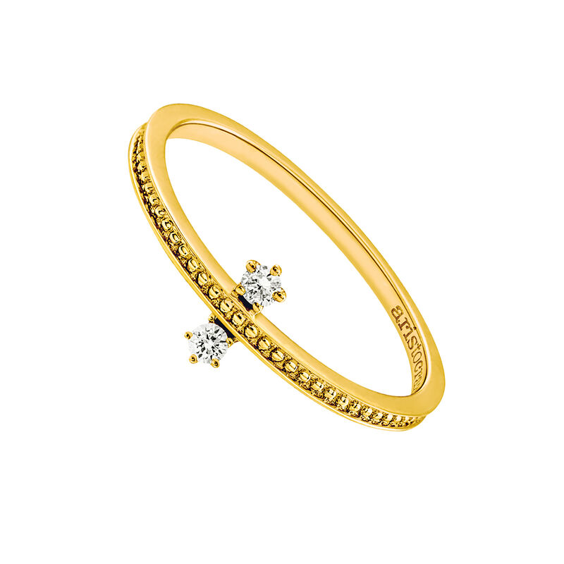 Gold double diamond ring 0.06 ct, J03343-02, hi-res