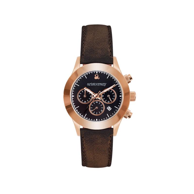 Soho watch rose gold bracelet black face., W29A-PKPKBL-LEBR, hi-res