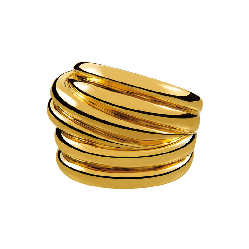 Gold plated multi-band ring, J01437-02, hi-res