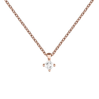 Rose gold topaz rhombus necklace, J03694-03-WT, hi-res