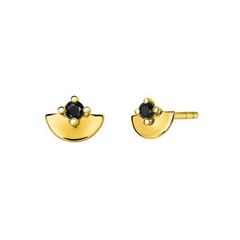 Gold plated spinel stud earrings, J03739-02-BSN, hi-res