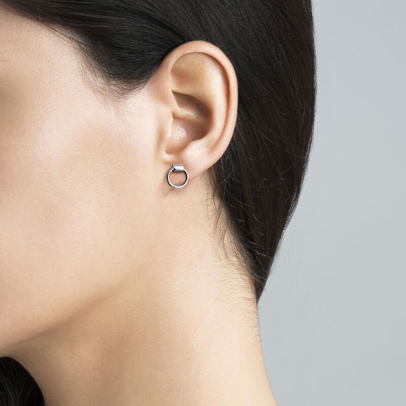 Mini silver double hoop earrings piercing, J03491-01, hi-res