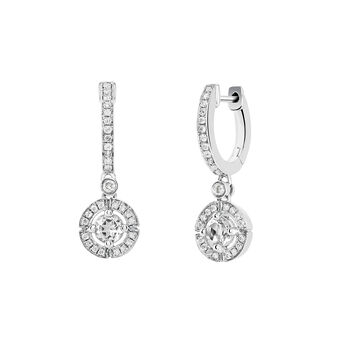 Silver circle hoop earrings with topaz and diamond, J03769-01-WT-GD, hi-res