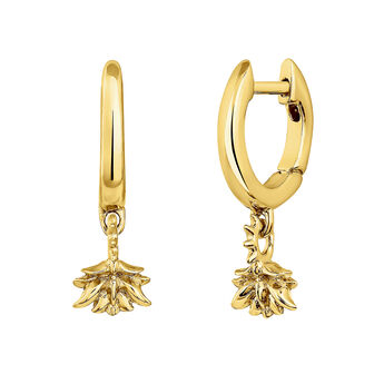 Gold plated lotus flower hoop pendant earrings, J04597-02, hi-res