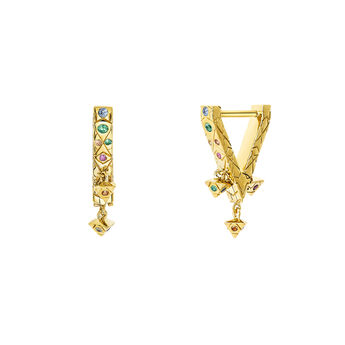 Triangular gold hoop earrings with stones, J03570-02-SA, hi-res
