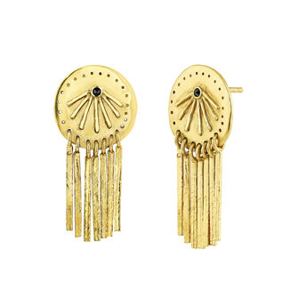 Gold plated mobile bars etnic earrings with spinels, J04451-02-BSN, hi-res