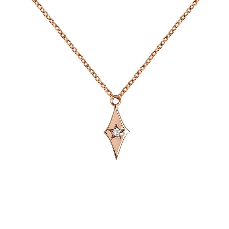 Colgante estrella diamante oro rosa 0,01 ct, J03886-03, hi-res