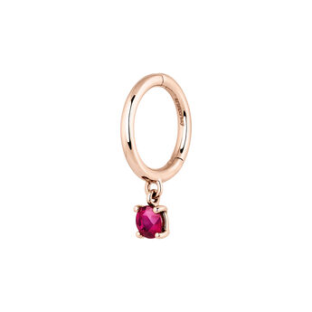 Pendiente aro rubí oro rosa 9 kt, J04074-03-RU-H, hi-res
