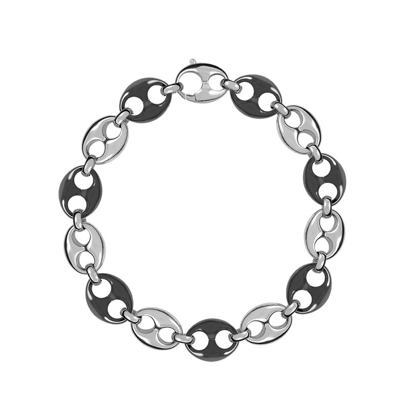 Silver and ceramic calabrote necklace, J01340-01-CER, hi-res