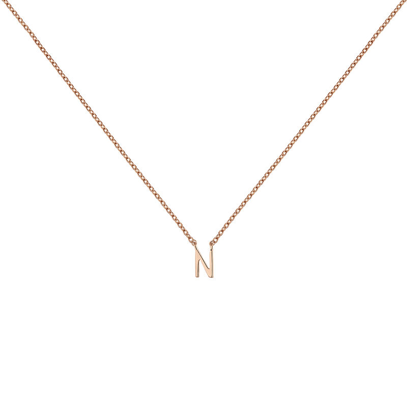 Collier initiale N or rose, J04382-03-N, hi-res