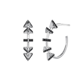 Silver triangles hoop earrings, J03962-01-BSN, hi-res