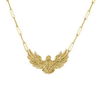 Gold plated eagle necklace, J04548-02, hi-res
