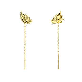Gold wing earrings, J04301-02, hi-res