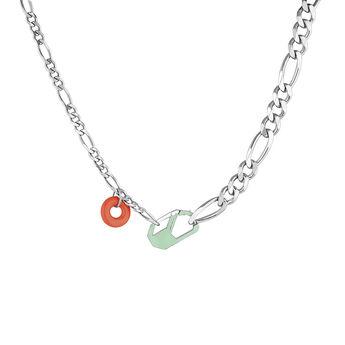 Collar chunky desmontable verde plata, J04625-01-ENGR, hi-res