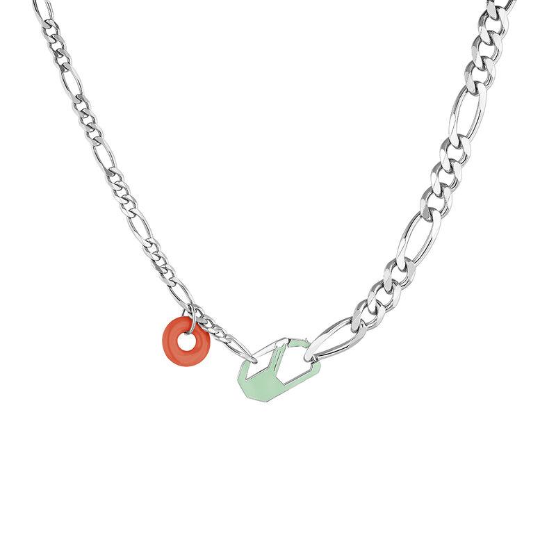 Collier chunky détachable vert argent, J04625-01-ENGR, hi-res