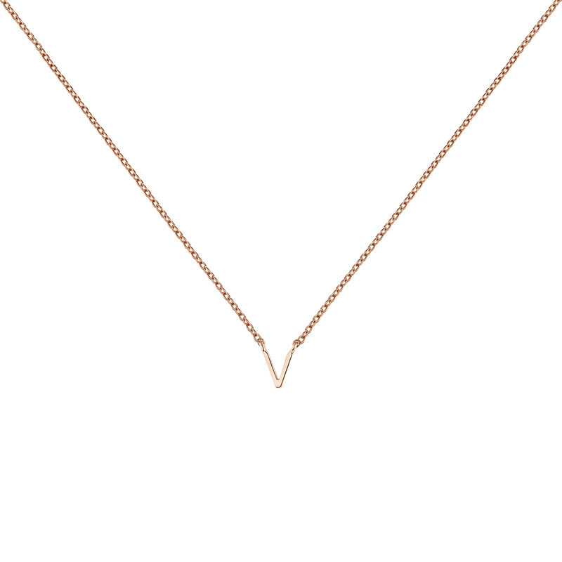 Collier initiale V or rose, J04382-03-V, hi-res