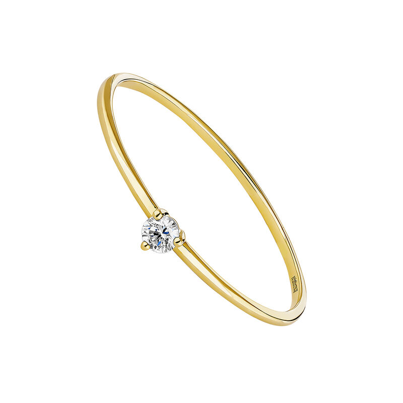 Gold diamond solitaire ring, J04437-02, hi-res